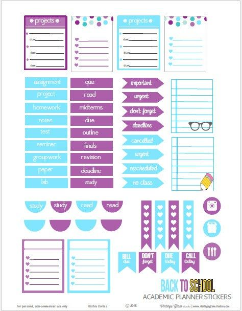 Zany image with regard to free printable functional planner stickers
