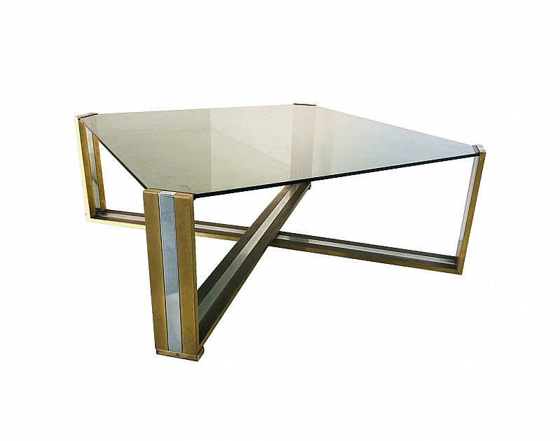 Brass Coffee Table And Smoked Glass Top Romeo Rega 70s