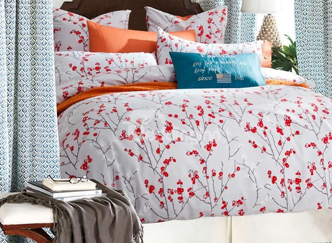 Small Red Flowers Design Cotton 4 Pieces Duvet Cover Sets Duvet Cover Sets Duvet Covers Flower Duvet