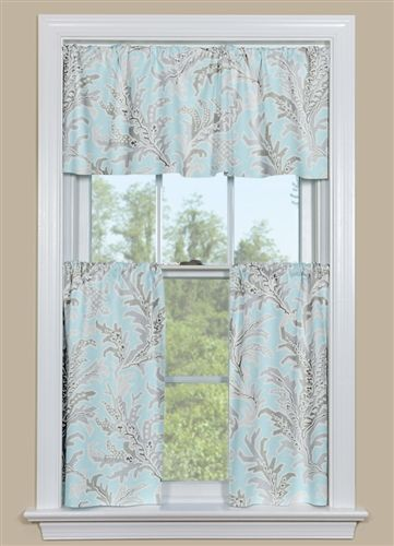 Blue And Grey Beach Themed Kitchen Curtain Tempest Blue With
