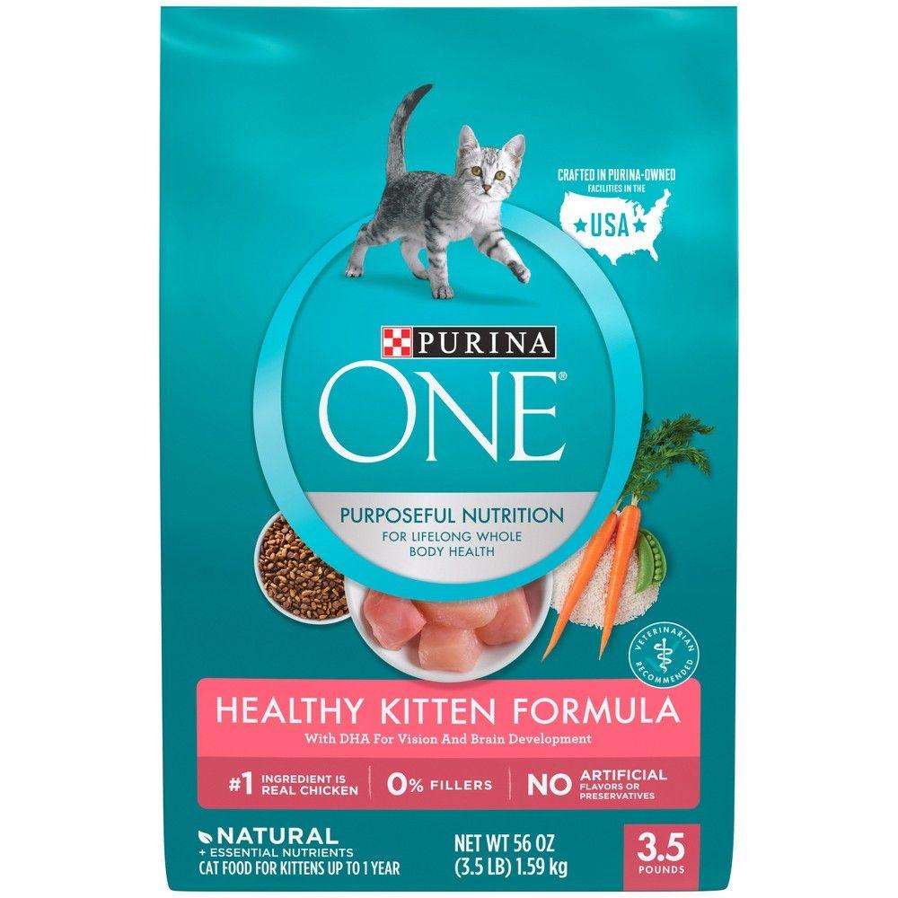 Purina One Healthy Kitten Formula Premium Dry Cat Food 3 5lb Bag Kitten Food Cat Food Dry Cat Food