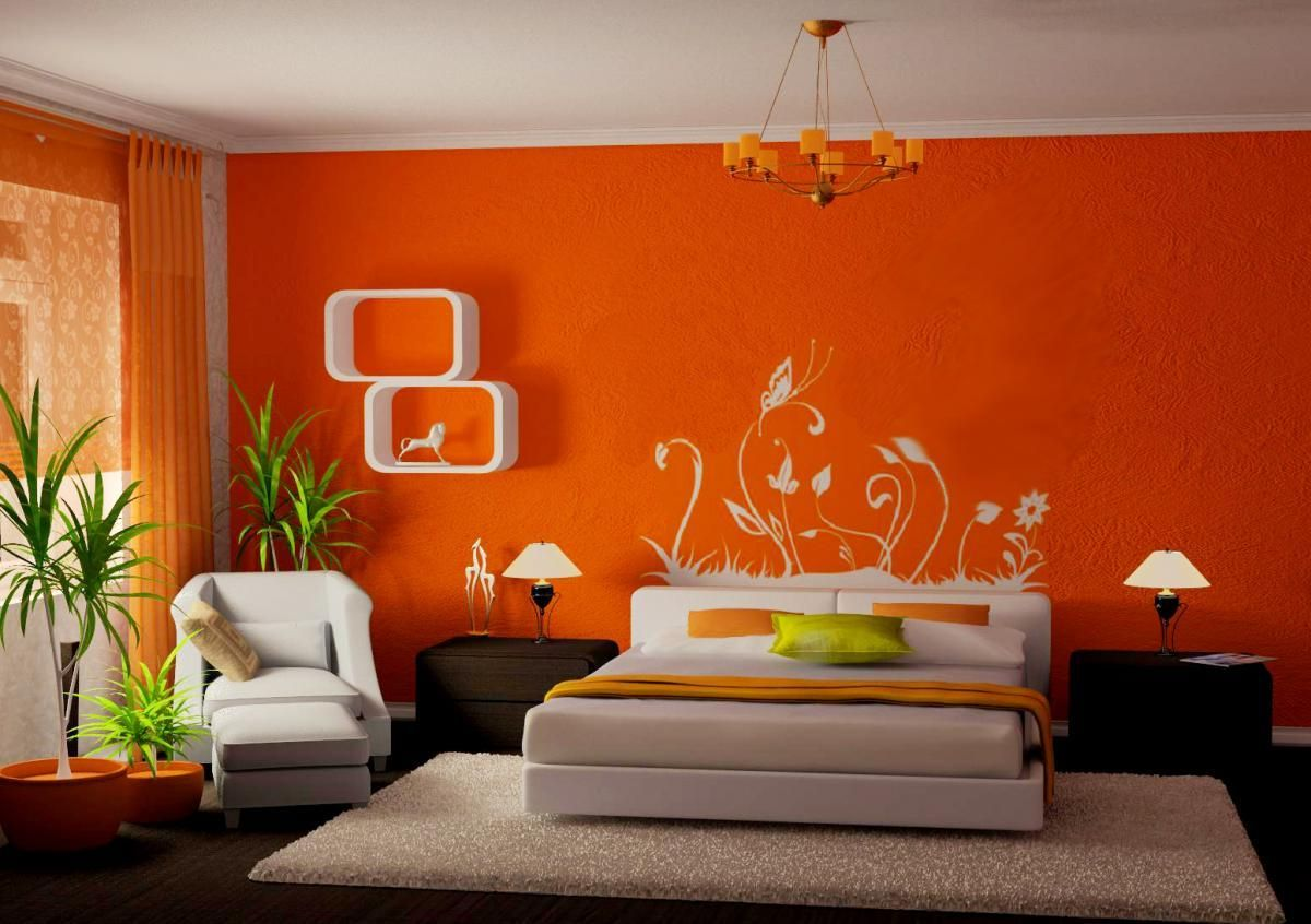 Innenfarbe im haus living room design ideas orange walls with photos and paintings