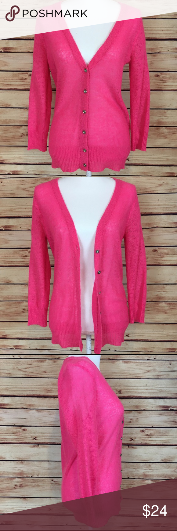 J. Crew Neon Pink Cardigan Button Down Wool Mohair | Pink cardigan ...