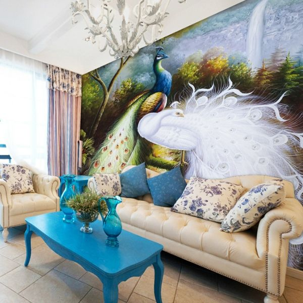 Pfauenfedern Deko im Wohnzimmer - Trends 2014 | Pfauenfedern ...