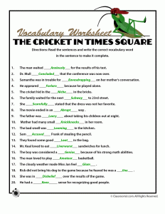 Printable Worksheets For The Cricket In Times Square Children S Book Woo Jr Kids Activities Cricket In Times Square Vocabulary Words Word Definitions
