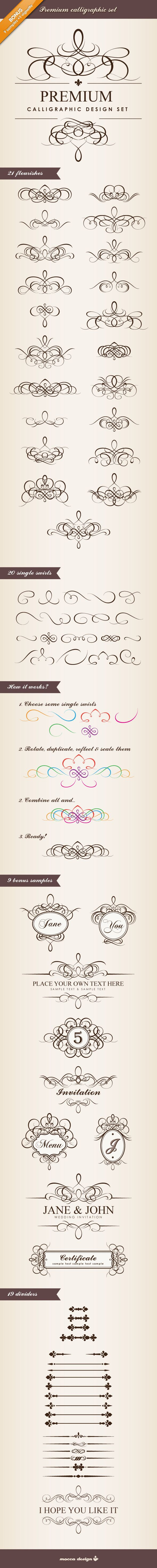 Premium Calligraphic Design Set by Mocca Design. Includes instructions on how to combine them.