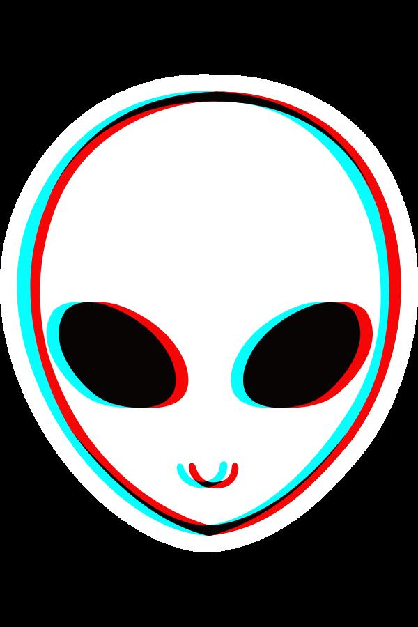 Alien Head In 3d Anaglyph Style Sticker Elemental Magic Stickers Alien