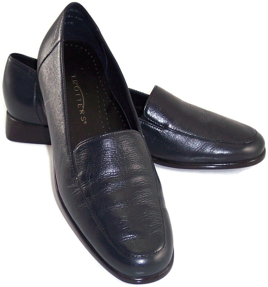 7.5 N Navy Blue Leather Shoes