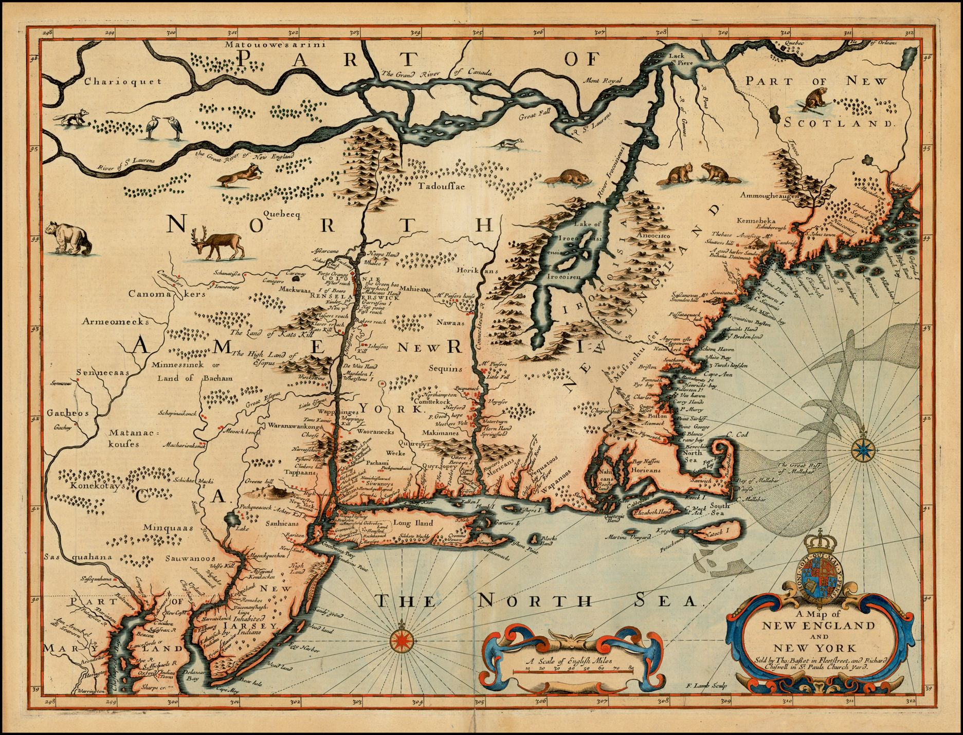 A Map of New England and New York 1676 | Old maps | Map, Antique ...