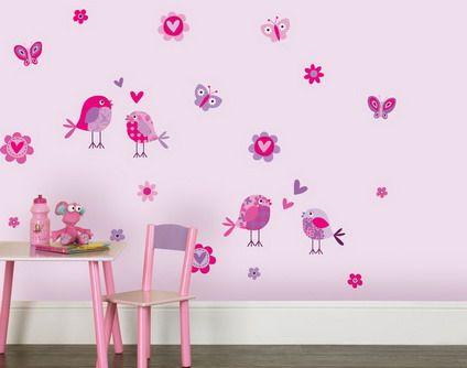 Cute Birds Butterfly Removable Wall Stickers Decals in Pink ...