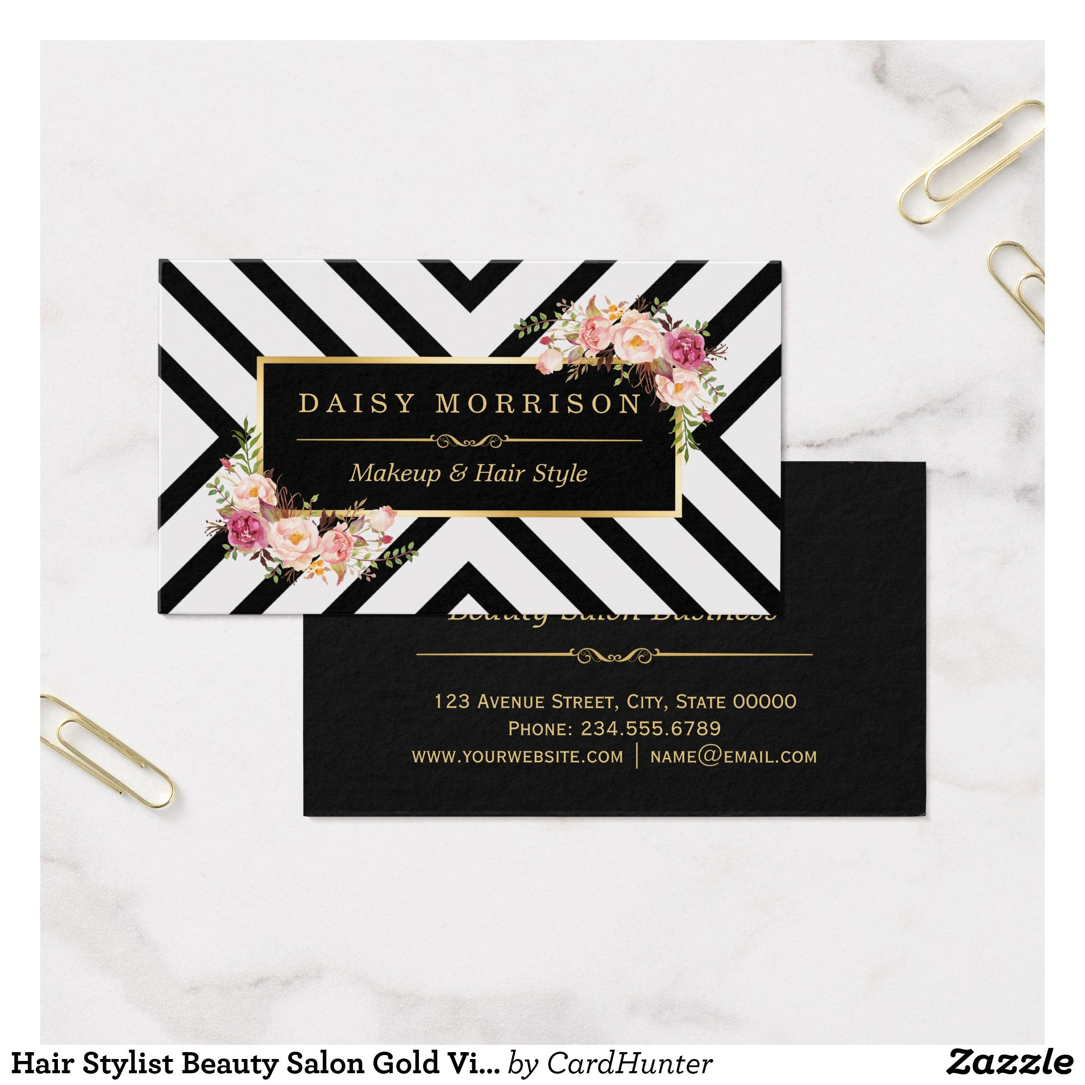 Hair Stylist Beauty Salon Gold Vintage Floral Business Card ...