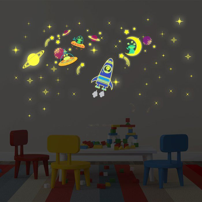 Galaxy moon and stars glow wall decal