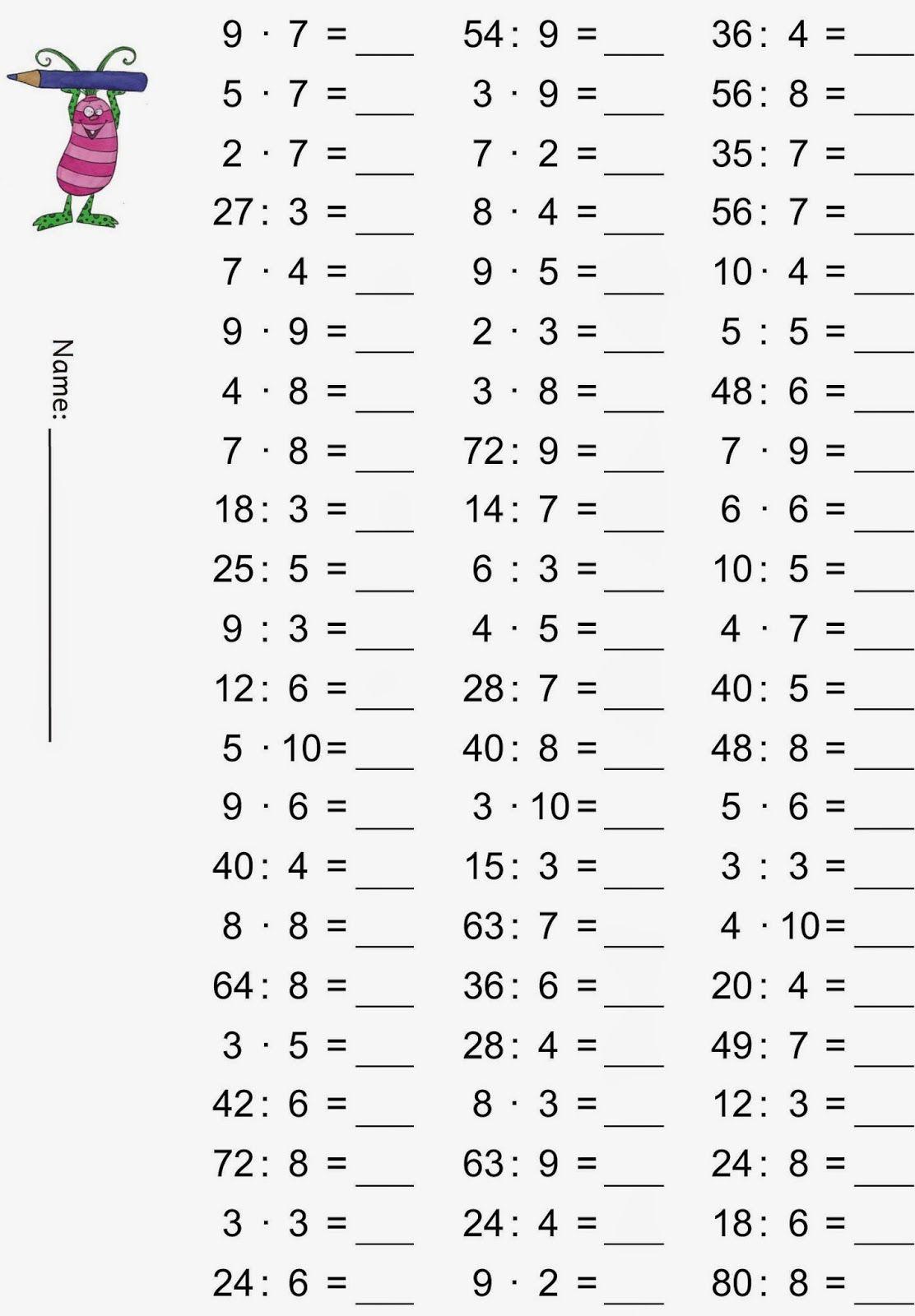 Einmaleins - gemischte Übungsaufgaben | Einmaleins, Schule und Mathe
