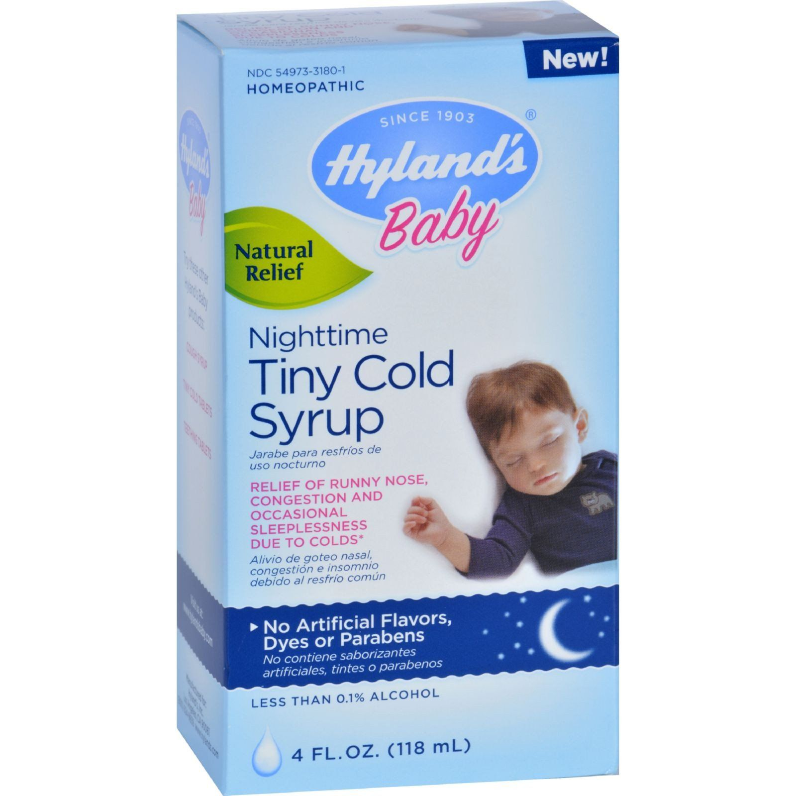 Hylands Homepathic Cold Syrup Nighttime Tiny Baby 4