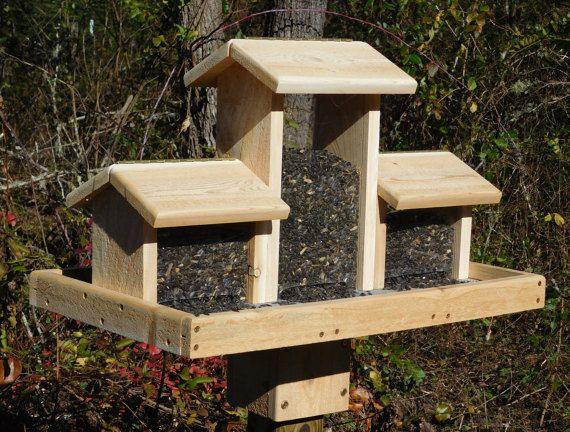 Cedar Bird Feeder Triple Bird Feeder Huge Bird Feeder Large Cedar Bird Feeder This Birdfeeder Is Ma Large Bird Feeders Wooden Bird Feeders Bird House Feeder