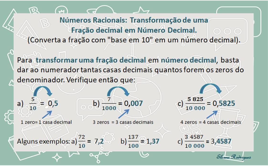 Números Racionais: Número Decimal exato | Número decimal, Números  racionais, Decimal