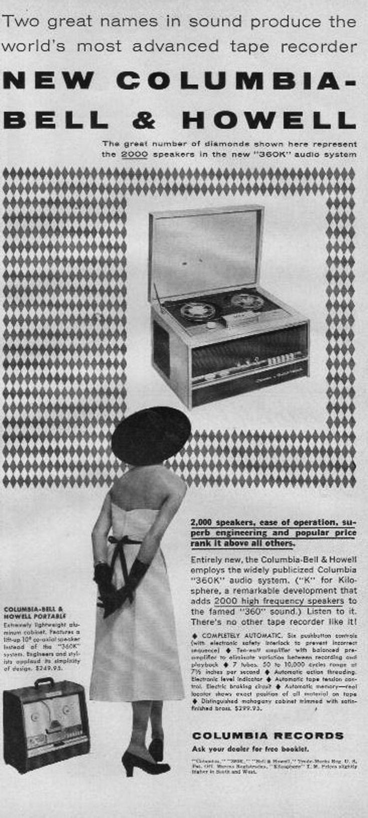 1954 Ad For Bell Howell Reel Tape Recorder In Reel2reeltexas