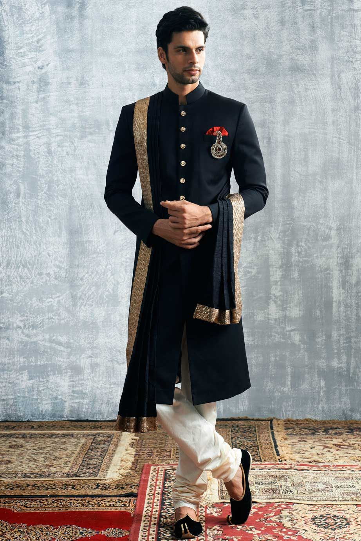 Manyavar Royal Black Sherwani Indian men fashion
