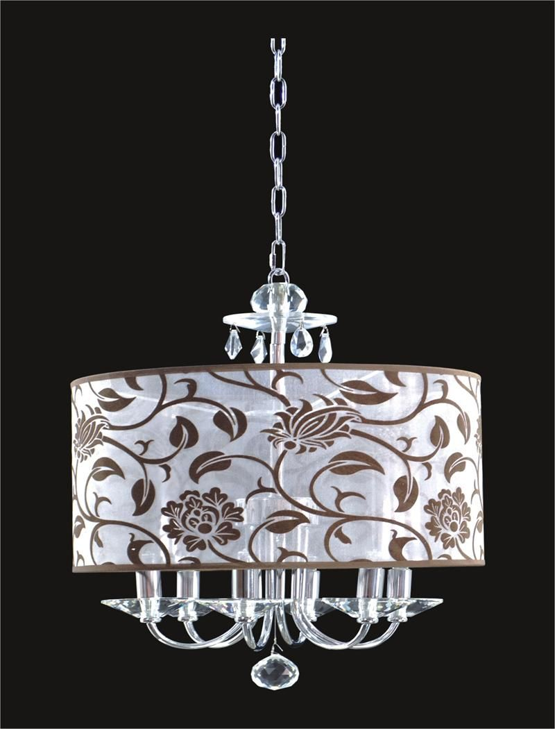 6 Light Crystal Chandelier With Flower Shade KL-41052-1818-F ...