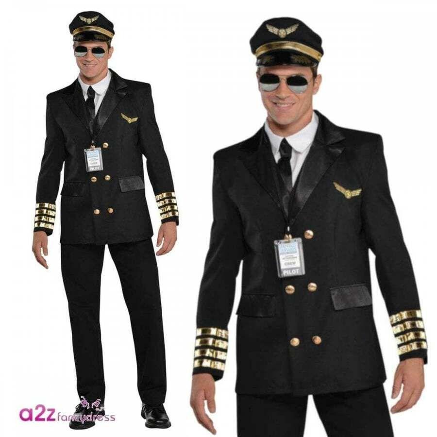 Mens Pilot Costume Captain Wingman Uniform Aviator 60s 70 S Fancy Dress Outfit Ebay Mens Fancy Dress Pilot Costume Childrens Fancy Dress