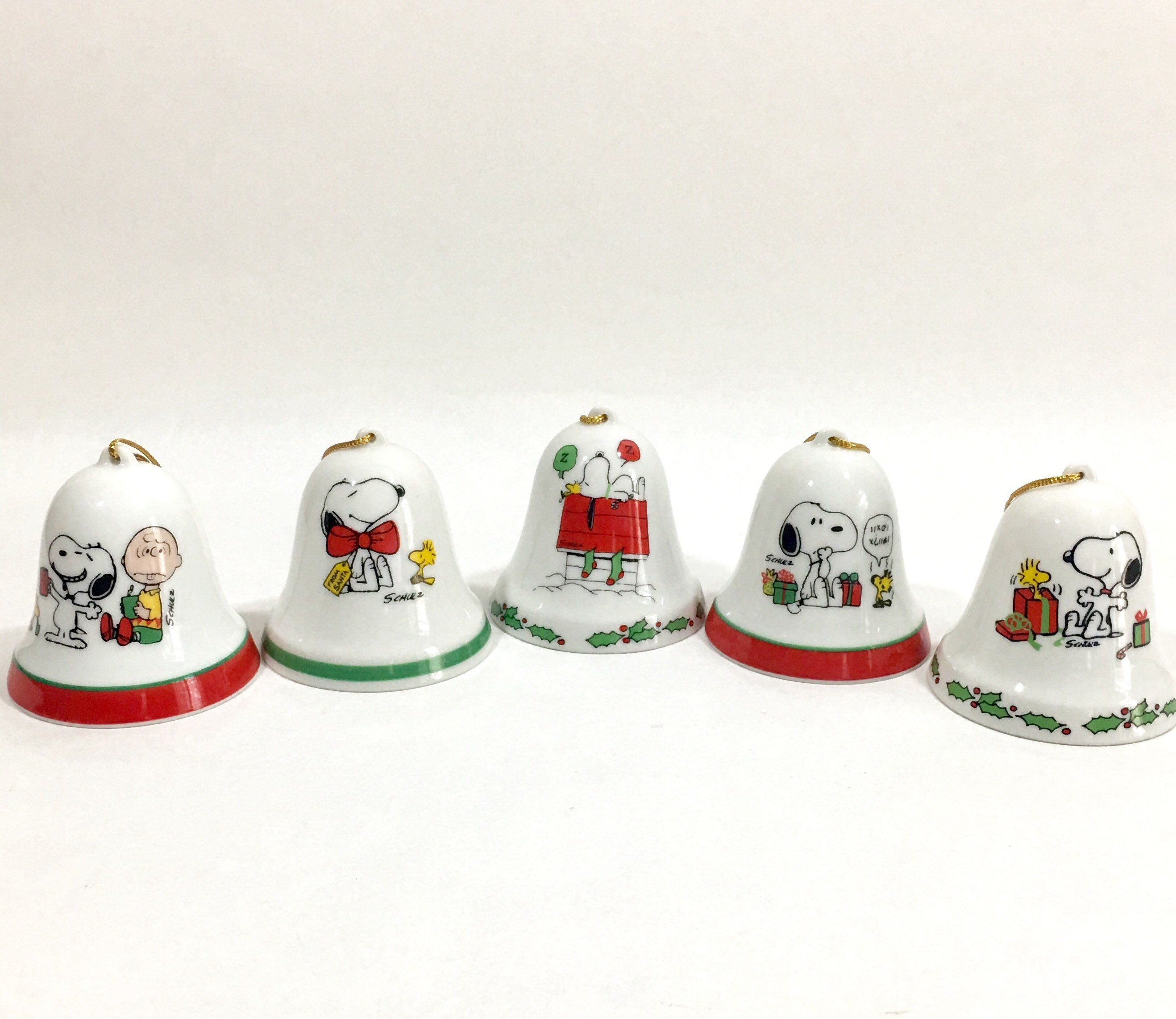 Vintage Snoopy Woodstock Christmas Bell Ornament Peanuts Porcelain Holiday Ornament Mix And Match By Eastwestvintage1 On Etsy
