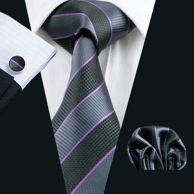 Designer Necktie Dot Patterns Royal Stripes Cufflink Handkerchief Set Classy Solid Striped