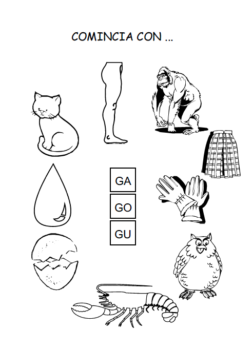 Schede didattiche per la scuola primaria giochi disegni for Parole con ge gi