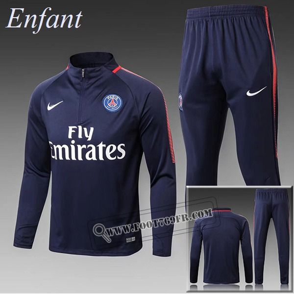 be0e5bcad5d81 Le Meilleur Du Thailandais Survetement De Paris Saint Germain Enfant Bleu  Marine Zipper Retro 2017-2018 Nouveau Promotion