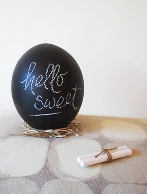 Chalkboard painted Easter Eggs for place setting ... make your own chalkboard paint in pastel colors