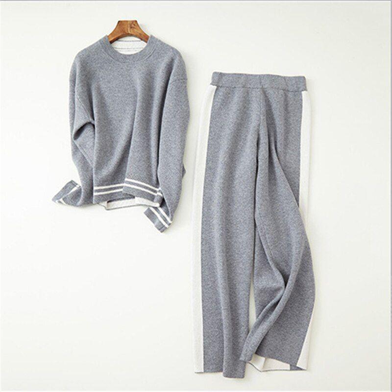 100% goat cashmere knit twinset women fashion Oneck pullover wide-leg pants 2pcs suits solid color M/L