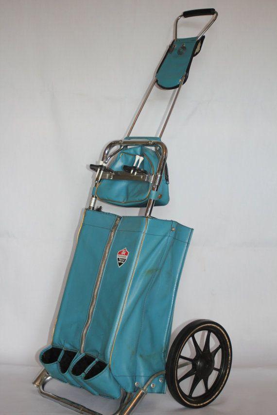 Vintage Golf Bag Pull Cart Turquoise Fashion