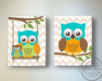Kids Wall Art Owl Nursery Baby Decor By Muralmax