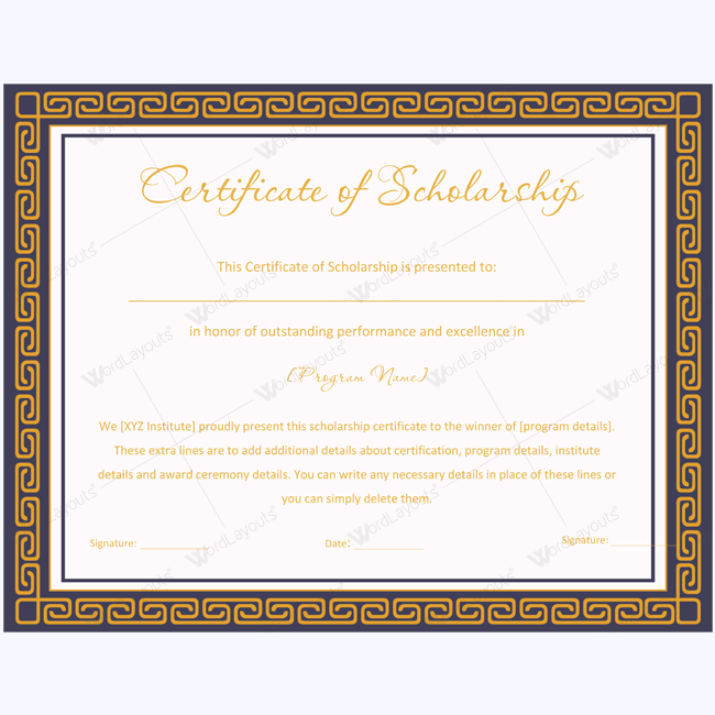 Sample Of Scholarship Certificate Award Scholarshipaward