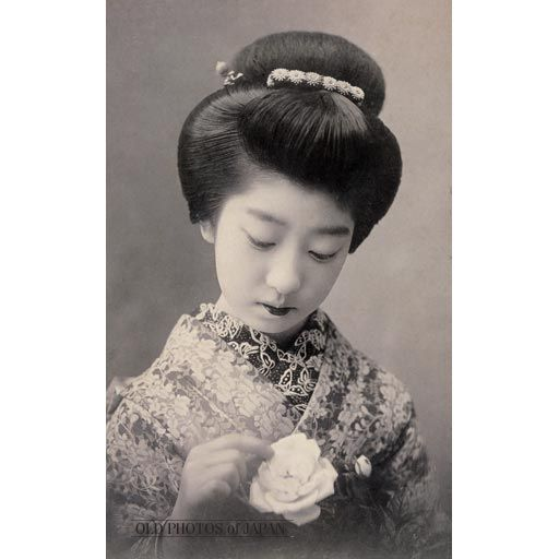 young woman in kimono and traditional
