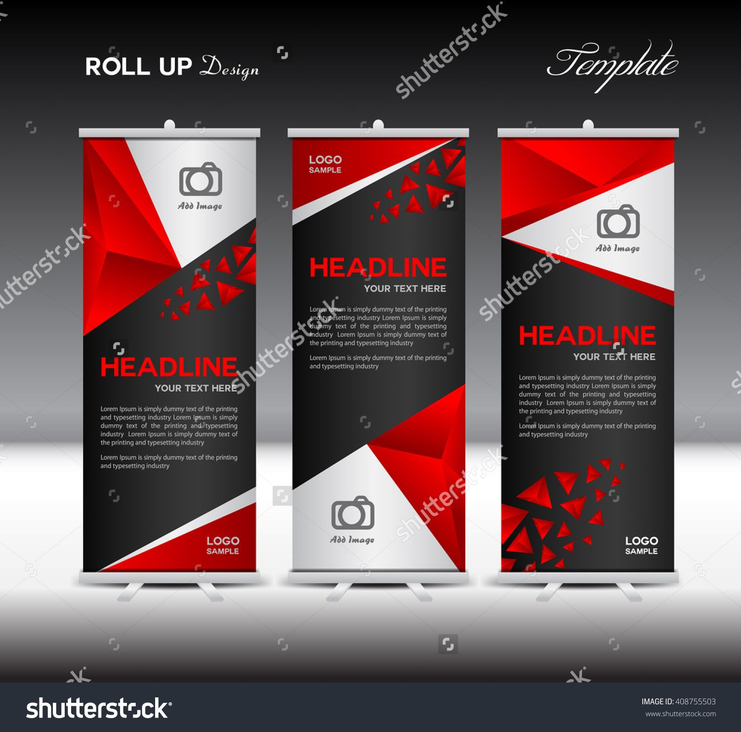 Red Roll Up Banner Template Vector Illustration Polygon
