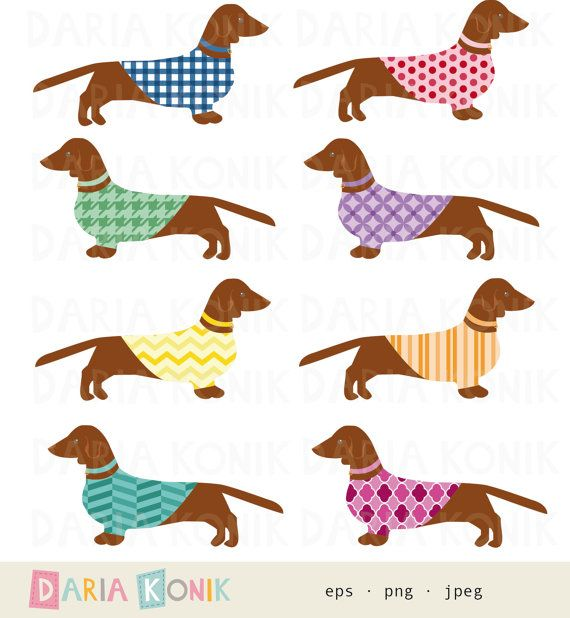 Dachshund Clip Art Set Dog Clipart Wiener Dogs Sausage Dogs