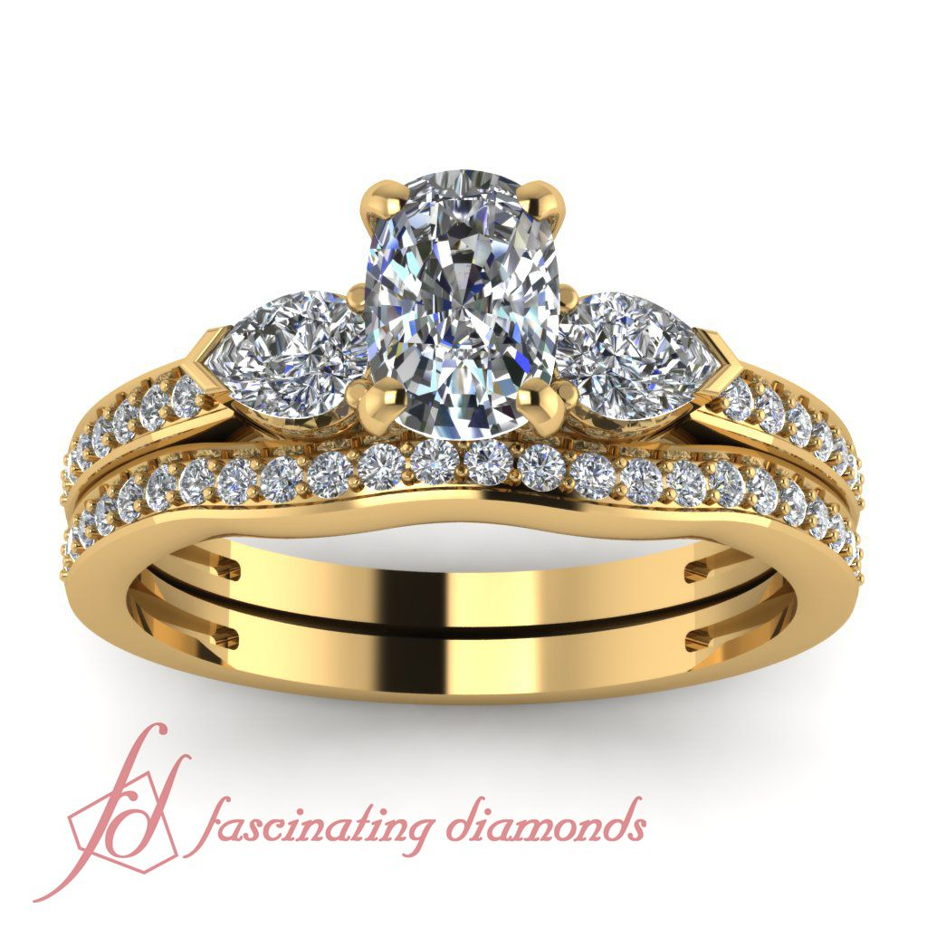 Pave 3 Stone Oval Shaped Diamond Bridal Set In 14k Yellow Gold