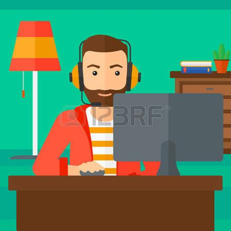 Sit At The Computer A Hipster Man In Headphones Sitting Front Of Monitor With Mouse Hand On Living Room Background Vector Flat Design