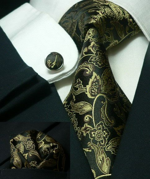 Bacrelli 100% Silk Tie Set with Matching Cuff Links - Black Gold.
