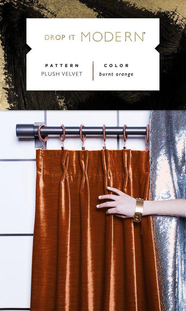 Pinch Pleat Drapery : Plush Velvet // burnt orange