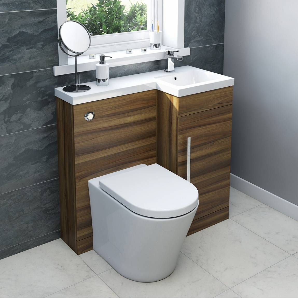 Myspace Walnut Right Handed Unit With Arte Back To Wall Toilet Small Bathroom Styles Small Bathroom Sinks Small Bathroom Solutions [ 1149 x 1149 Pixel ]