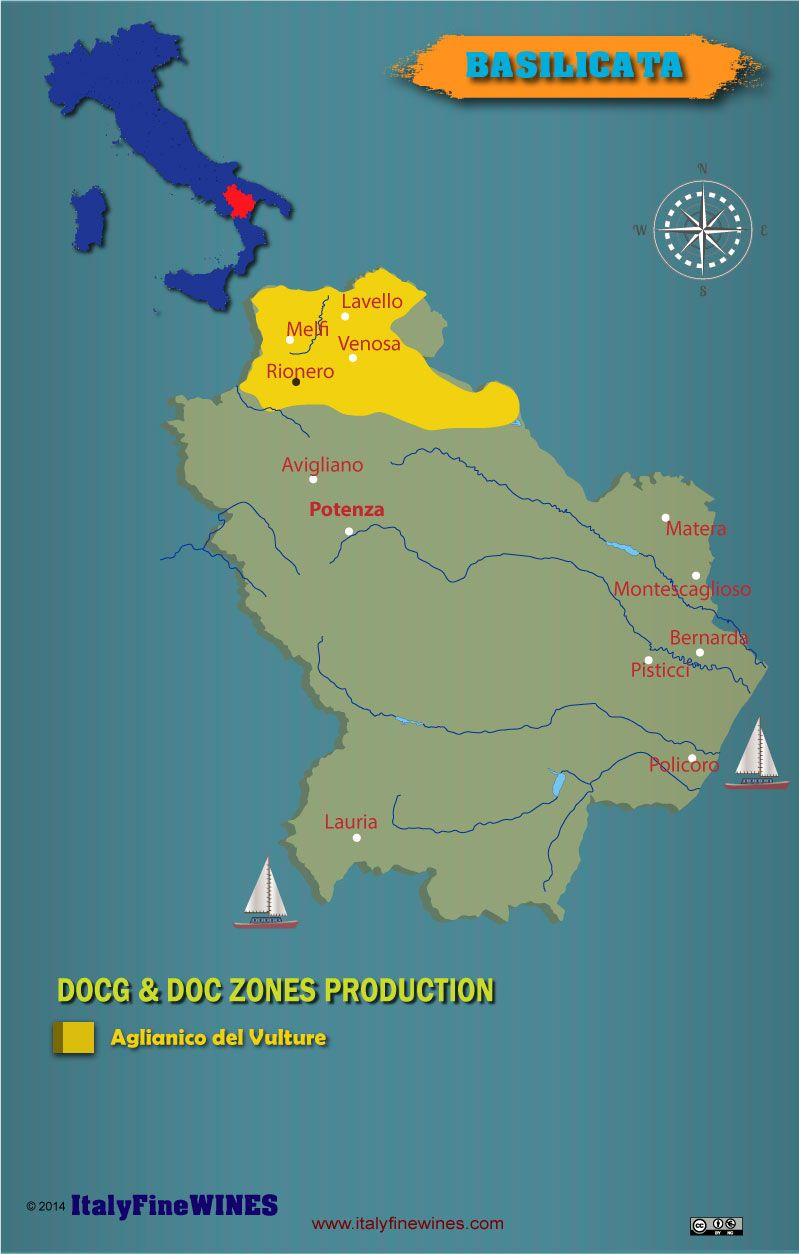 Basilicata Italy -wine map with details of doc and docg appellations. Download it at www.italyfinewines.com
