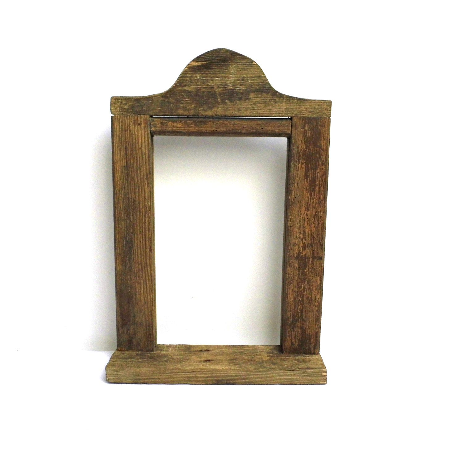Vintage Wood Frame Barn Wood Primitive Open Gallery Picture Mirror