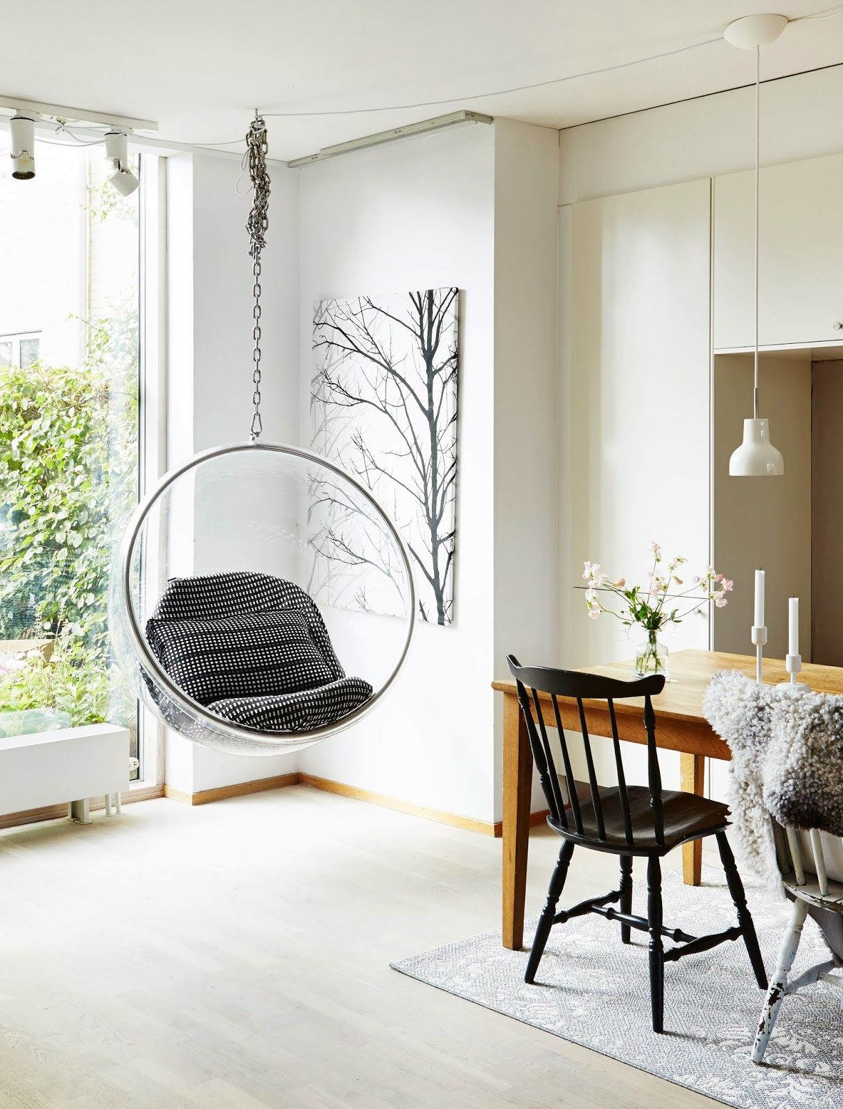 hanging chair interior barrel dining chairs set of 2 design bloggers at home bubble interiors and