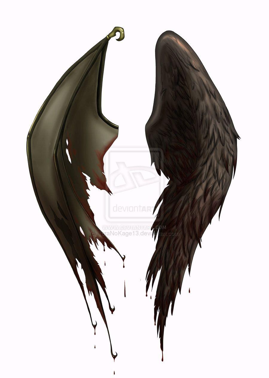 Wing tattoo design - Half Devil Half Angel Tattoos Angel Devil Wings Tattoo Designs