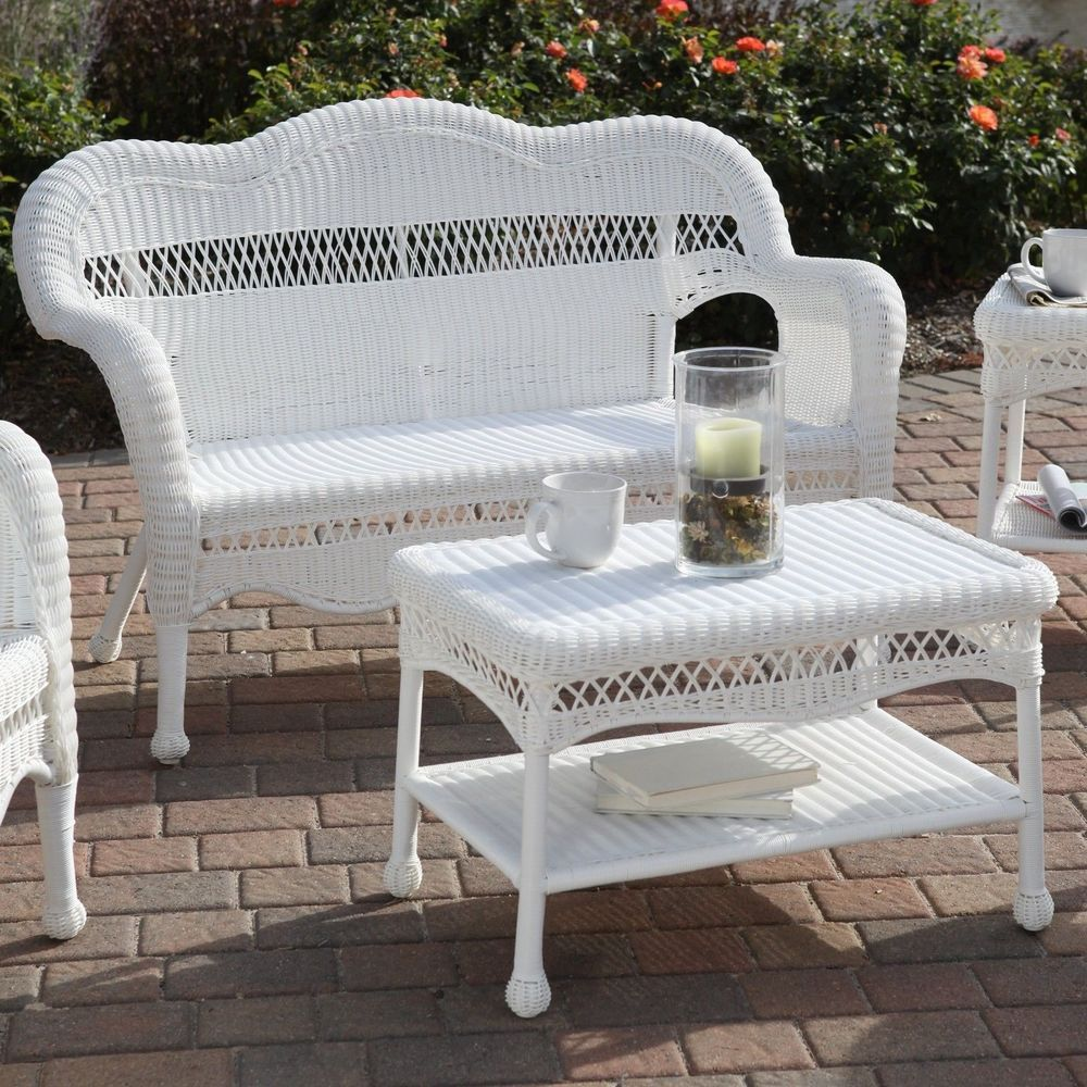 All Weather Wicker Loveseat Sofa Resin Outdoor Patio Garden Furniture White White Wicker Patio Furniture Outdoor Wicker Furniture White Rattan Furniture