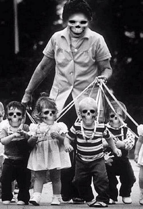 Skeleton mom and her minions.