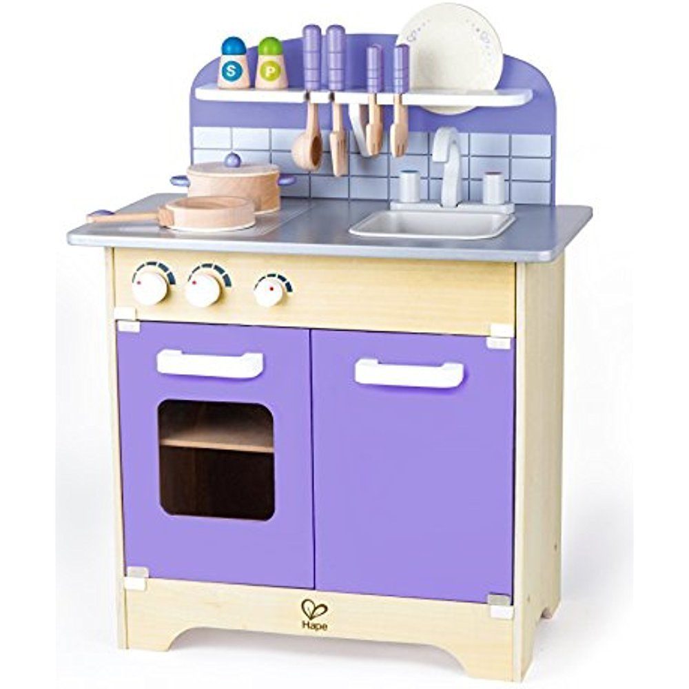 Wooden Kitchen Playset with Deluxe Accessories Kids Pretend Play ...