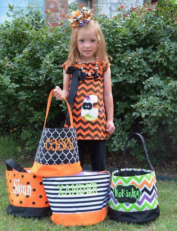 monogrammed halloween bagsbuckets chevron candy bag trick or treat toy bag