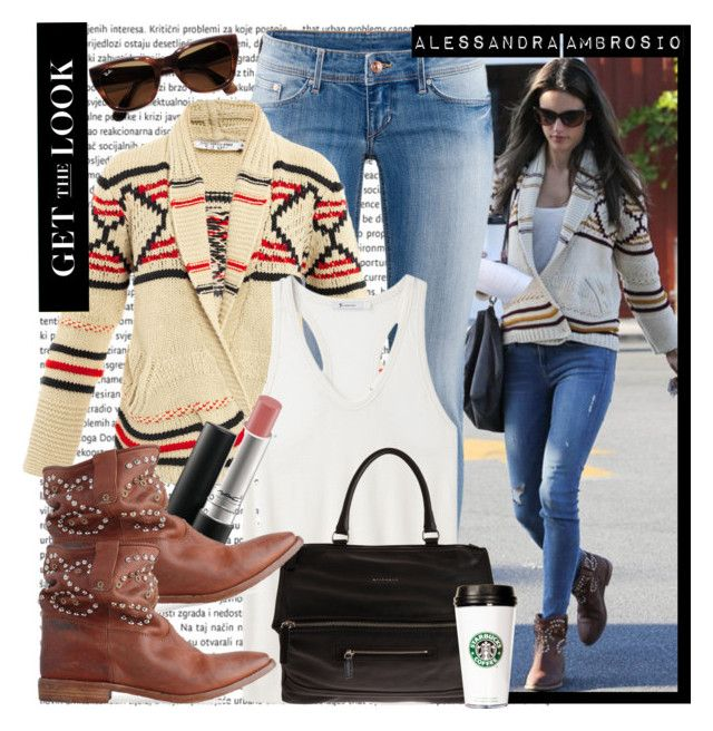 """""""Celebrity Style - Alessandra Ambrosio"""" by karineminzonwilson ❤ liked on Polyvore featuring H&M, Étoile Isabel Marant, T By Alexander Wang, Givenchy, MAC Cosmetics, Isabel Marant, Ray-Ban, alessandra ambrosio and celebrity"""